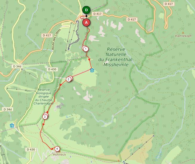 Parcours raquette Col de la Schlucht vers le Hohneck